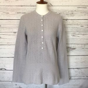 J Crew Lavender Henley LS Sweater Size Large